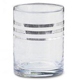GLOBAL VIEWS SET OF 4 PLATINUM BANDED DOUBLE OLD FASHION GLASSES