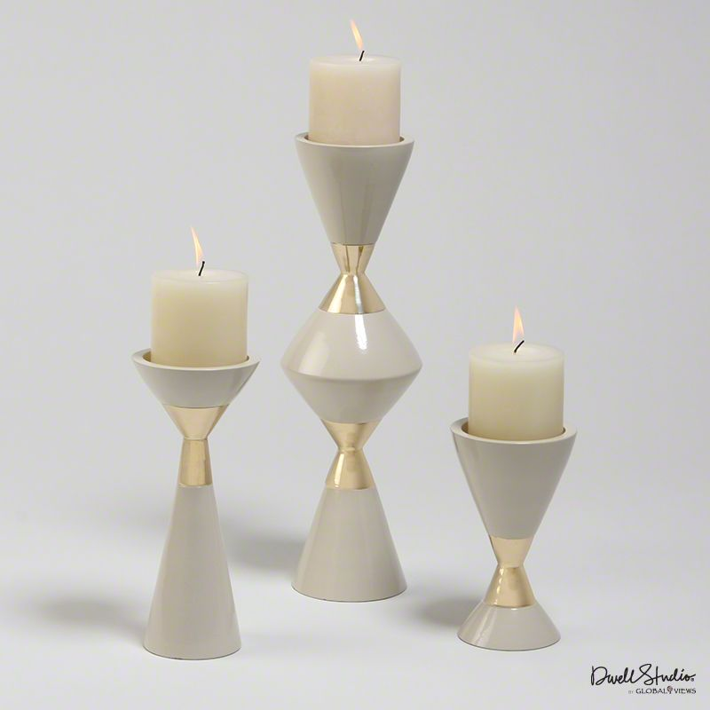 GLOBAL VIEWS SET OF 3 HOURGLASS PILLAR CANDLEHOLDERS - CREAM W/ GOLD