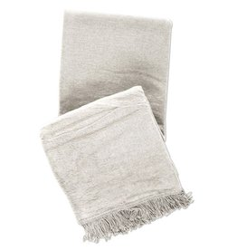 WINDSOR PLATINUM FRINGED FLEECE THROW