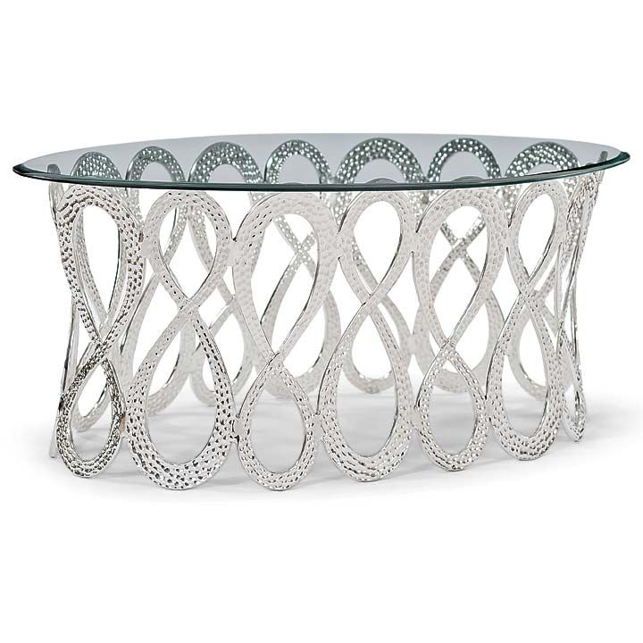 INFINITY OVAL COCKTAIL TABLE- POLISHED NICKEL