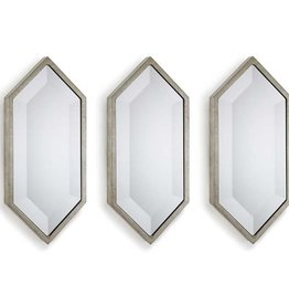 REGINA ANDREW SILVER SET OF 3 DIAMOND WALL PANEL MIRRORS