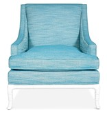 JONATHAN ADLER CHIPPENDALE LOUNGE CHAIR- TURQUOISE LINEN