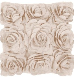 SURYA FELTED FLORAL PILLOW IN BEIGE