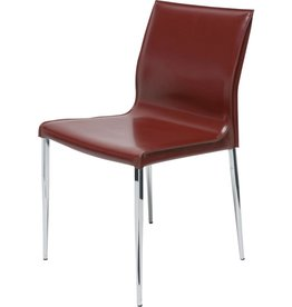 NUEVO COLTER DINING CHAIR IN BORDEAUX LEATHER