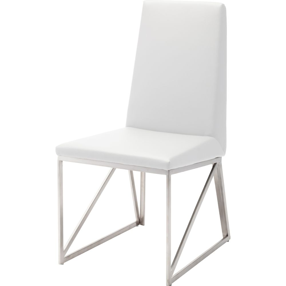 NUEVO CAPRICE DINING CHAIR IN WHITE W/ METAL FRAME