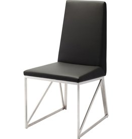NUEVO CAPRICE DINING CHAIR IN BLACK W/ METAL FRAME