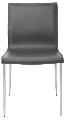 NUEVO COLTER DINING CHAIR IN DARK GREY LEATHER