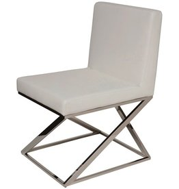 NUEVO TOULON DINING CHAIR IN WHITE LEATHER