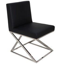NUEVO TOULON DINING CHAIR IN BLACK LEATHER