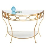 WORLDS AWAY GOLD LEAFED CONSOLE TABLE