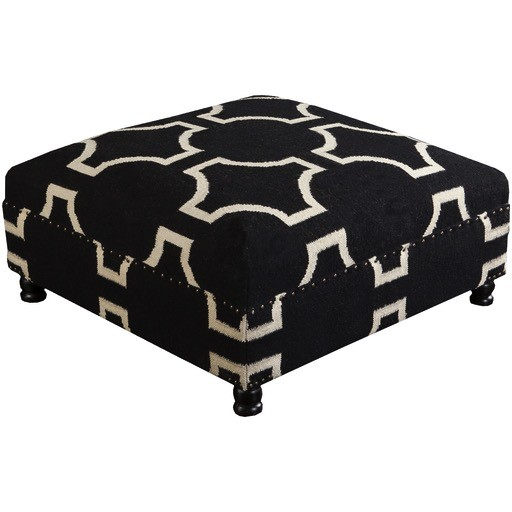 SURYA FURNITURE - UPHOLSTERED B&W OTTOMAN