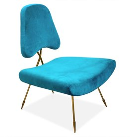JONATHAN ADLER MAXIME LOUNGE CHAIR IN TEAL VELVET
