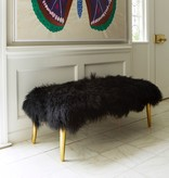 JONATHAN ADLER LONG HAIRED SHEEPSKIN BENCH IN BLACK