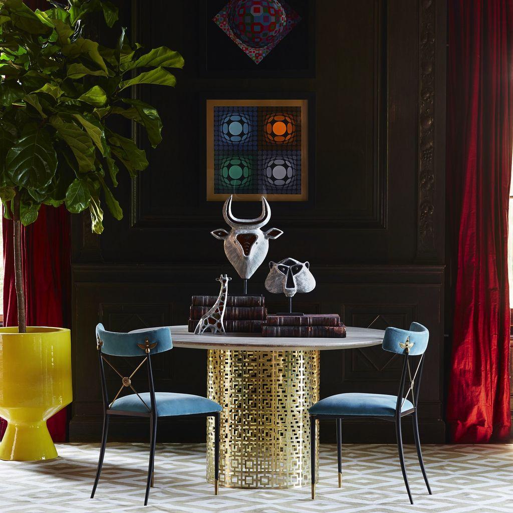 JONATHAN ADLER NIXON DINING TABLE - WHITE GLOSS AND BRASS