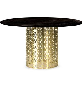 JONATHAN ADLER NIXON DINING TABLE (BRASS/BLACKENED ELM)