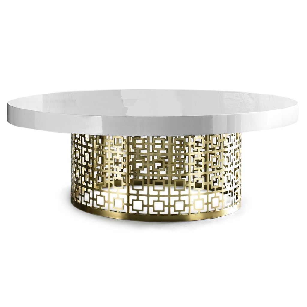 JONATHAN ADLER NIXON COCKTAIL TABLE - WHITE GLOSS AND BRASS