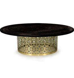 JONATHAN ADLER NIXON COCKTAIL TABLE- BLACKENED ELM AND BRUSHED BRASS