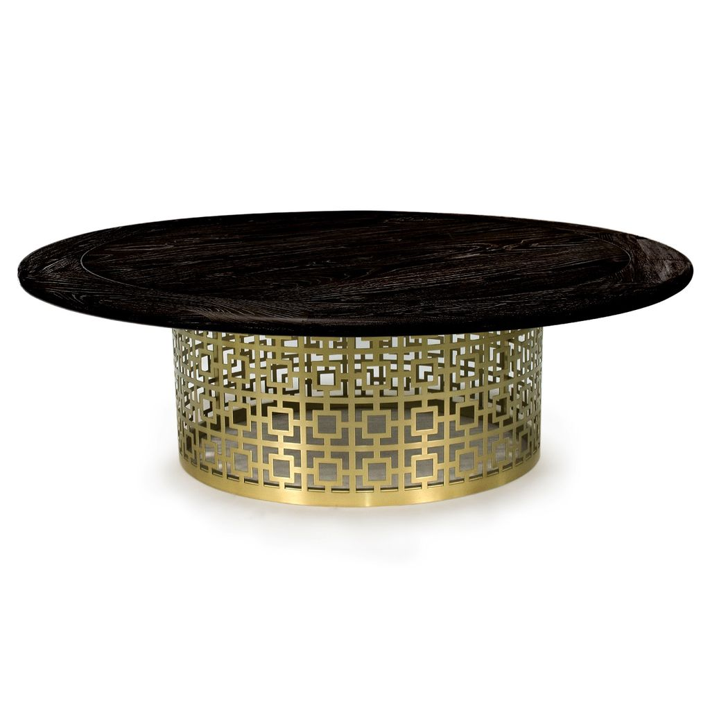 JONATHAN ADLER NIXON COCKTAIL TABLE- BLACKENED ELM AND BRUSHED BRASS