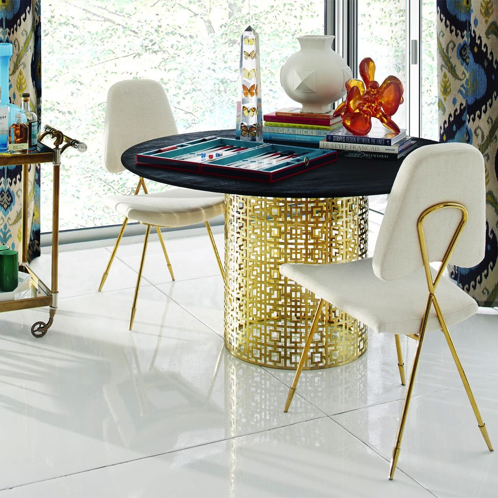 The Adler Extendable Table From Iq Furniture: JONATHAN ADLER NIXON DINING TABLE (BRASS/BLACKENED ELM