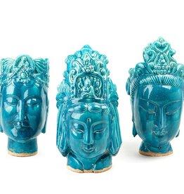TOZAI HOME S/3 TURQ BUDDHA HEADS