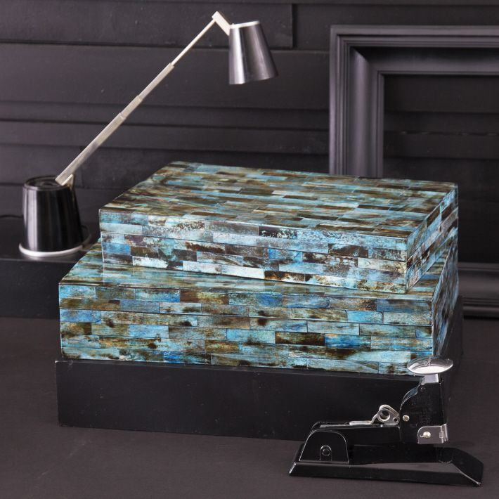 TOZAI HOME SET OF 2 VERDIGRIS COVERED BOXES