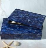 TOZAI HOME S/2 LAPIS TILES BOXES BONE/SHEESHAM WOOD