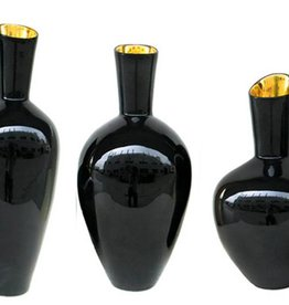 TOZAI HOME NOIR GOLD S/3 DECORATIVE VASES DESIGNED BY NICHOLAS BLANDIN