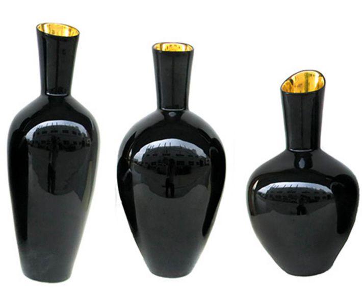TOZAI HOME NOIR GOLD S/3 DECORATIVE VASES DESIGNED BY NICHOLAS BLANDIN