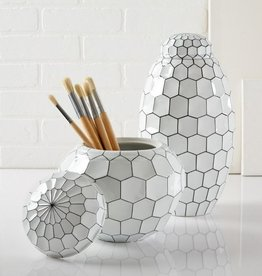 TOZAI HOME FACETS BLACK AND WHITE S/2 JARS DESIGNED BY FABIENNE JOUVIN