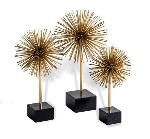 INTERLUDE HOME BRASS URCHINS- SET OF 3