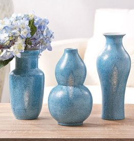 TOZAI HOME S/3 SHAGREEN TURQUOISE VASE HAND-PAINTED PORCELAIN