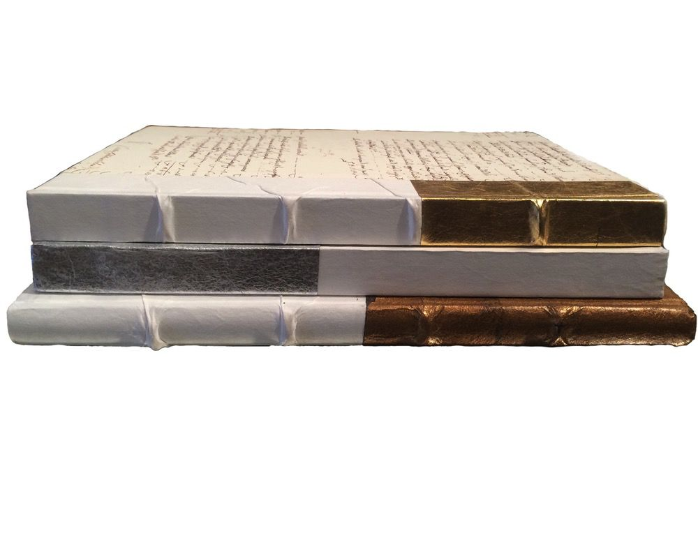 DIPPED ANTIQUED GOLD-XL BOOKS - SET OF 6