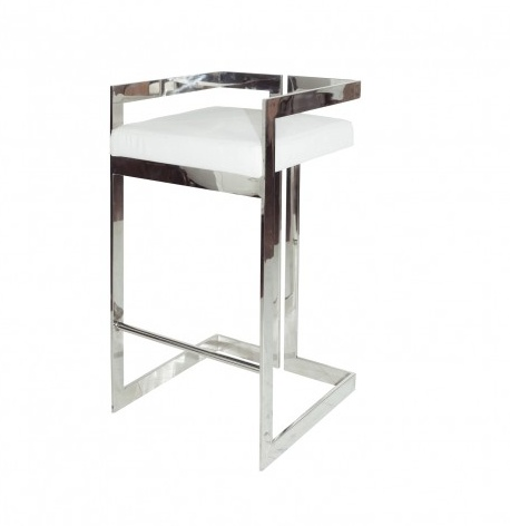 HEARST WHITE & NICKEL BAR STOOL
