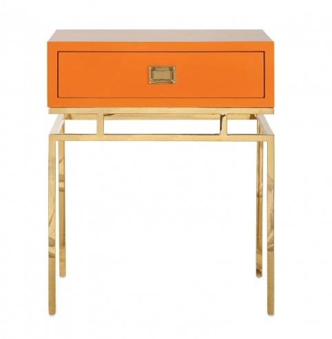 CAYSON ORANGE BRASS SIDE TABLE