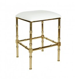 SADLER WHITE & BRASS COUNTER STOOL