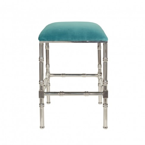 SADLER TURQUOISE & NICKEL COUNTER STOOL