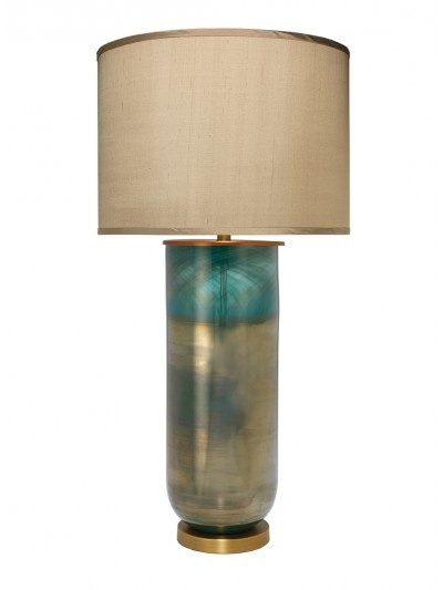 LARGE VAPOR TABLE LAMP w/ LARGE TAUPE SILK DRUM SHADE
