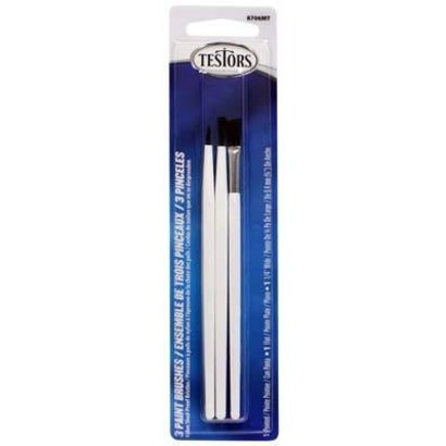 TES - Testors 8706MT 3 Paint Brush Set Flat Pointed .25