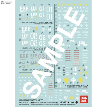 "BAN - Bandai Gundam Gundam Decal 120 Mobile Suit Gundam Side Story The Blue Destiny ""Gundam The Blue Destiny"" Bandai Decals"