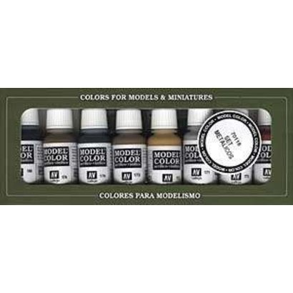 VLJ-VALLEJO ACRYLIC PAINTS 70118 METALLIC COLORS (8)         17ML