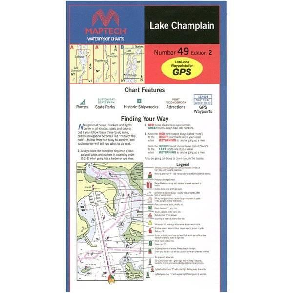 Lake champlain waterproof chart by maptech wpc049 pilothouse