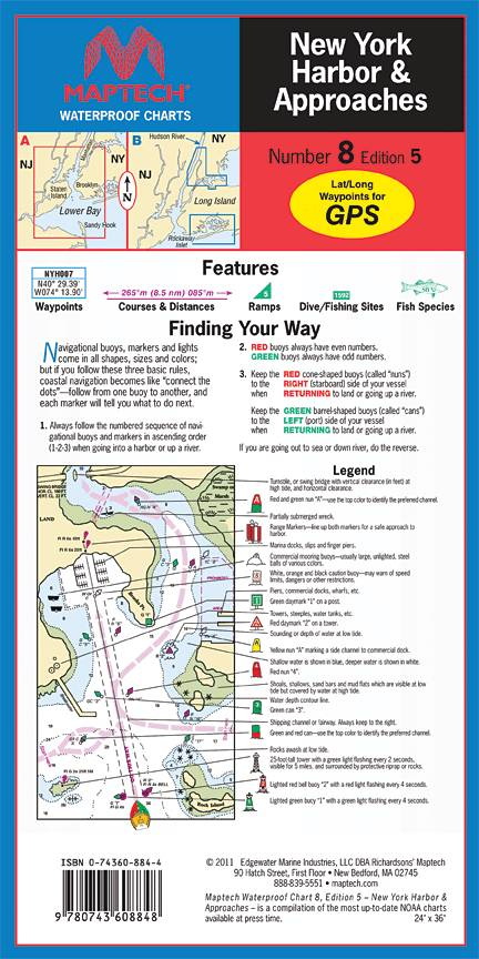 New york harbor and approaches waterproof chart by maptech wpc008