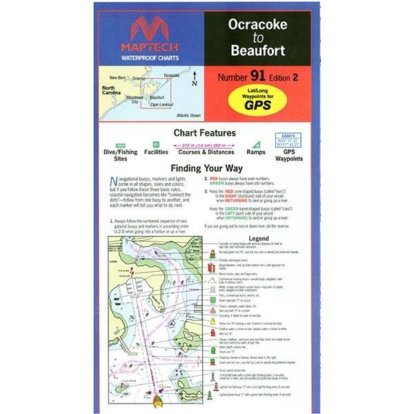 Ocracoke to beaufort waterproof chart by maptech wpc091 pilothouse