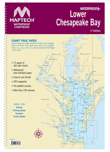 Lower chesapeake bay waterproof chartbook by maptech wpb0440 01