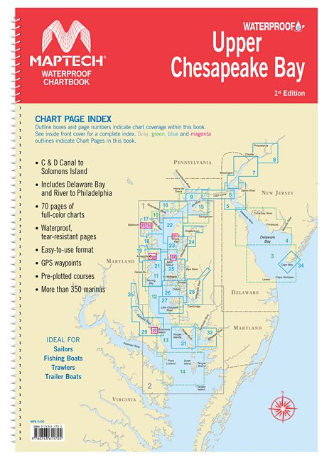 Upper chesapeake bay waterproof chartbook by maptech wpb0430 01