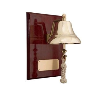 "6"" Brass Bell Mounted on 9"" x 12"" Mahogany Plaque  W&P 6060/EN4006"