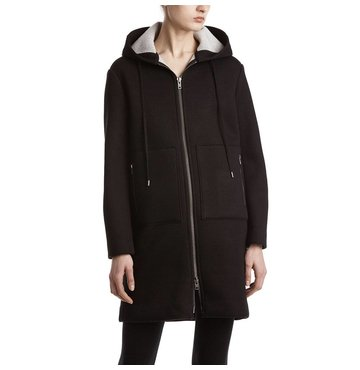 Wool Faced Neoprene Zip Up Coat