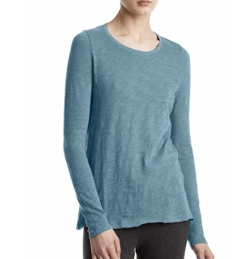 French Blue Long Sleeve Crew Neck Tee Destroyed Wash