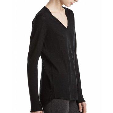 Black V-Neck Cashmere Raw Trim Sweater
