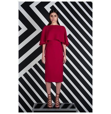 Red High-Neck Overlay Sheath Cocktail Dress